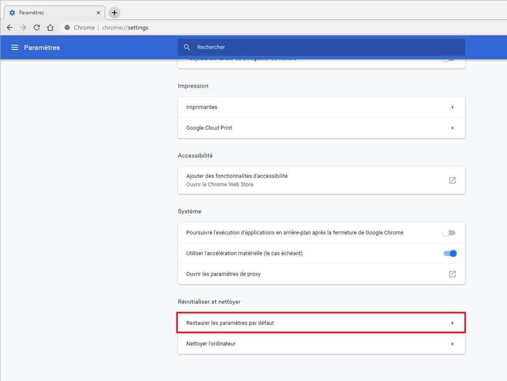 L'option pour restaurer Google Chrome se trouve en bas de la page des paramètres. © Google