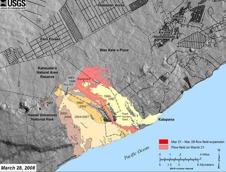 Figure 2. Un zoom sur les coulées de 2008 du Kilauea. En rouge et rose, les coulées actuelles, en mars 2008. © USGS