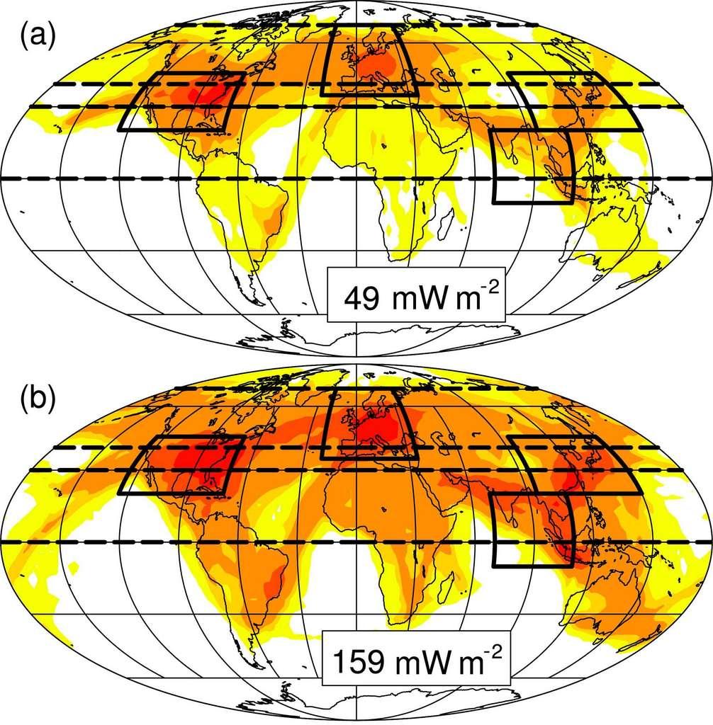 L'augmentation de l'effet radiatif des cirrus — (a) en 2006 et (b) en 2050 — va surtout se faire ressentir au-dessus de l'Atlantique et en Asie du Sud-Est, là où le trafic augmente le plus rapidement. © Lisa Bock et Ulrike Burkhardt, Atmos. Chem. Phys., 2019
