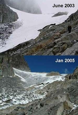 Le glacier Elena, niché dans les montagnes africaines Rwenzori, a reculé de plus de 20 mètres en l'espace de deux ans L'une de ces photographies est prise en juin et l'autre en janvier mais, selon les chercheurs, cette région du globe connaît les mêmes conditions climatiques à ces deux moments de l'année (Crédits : R. Taylor)