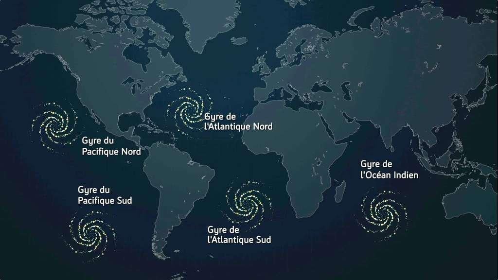 Les cinq gyres océaniques au centre desquels les déchets sont comme emprisonnés par des courants marins circulaires. © Expédition 7e continent