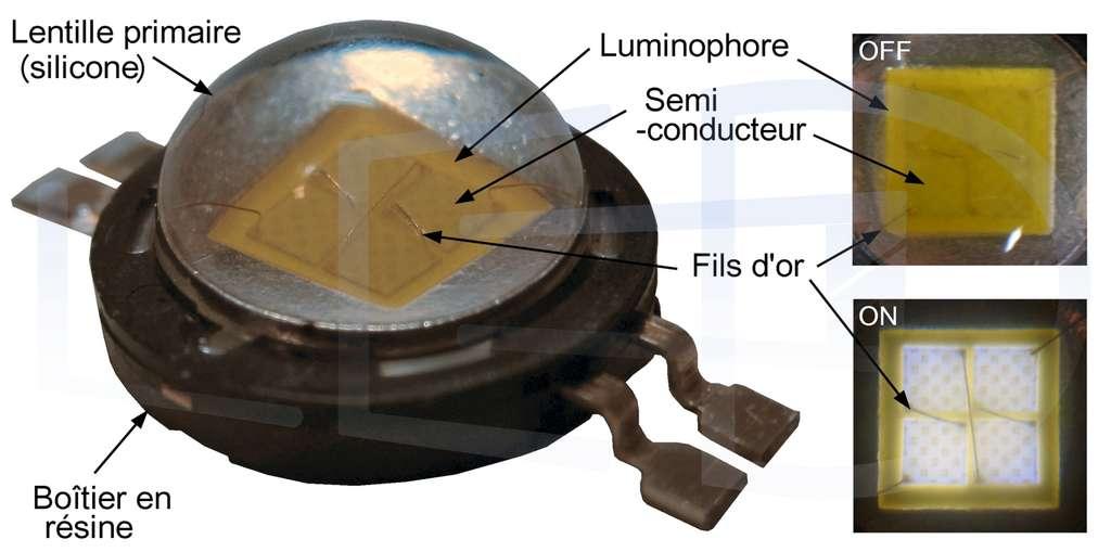Une Led blanche fonctionnant en courant alternatif à 220 volts (220VAC). On distingue les fils d'or employés pour l'alimentation. © Led Engineering Development