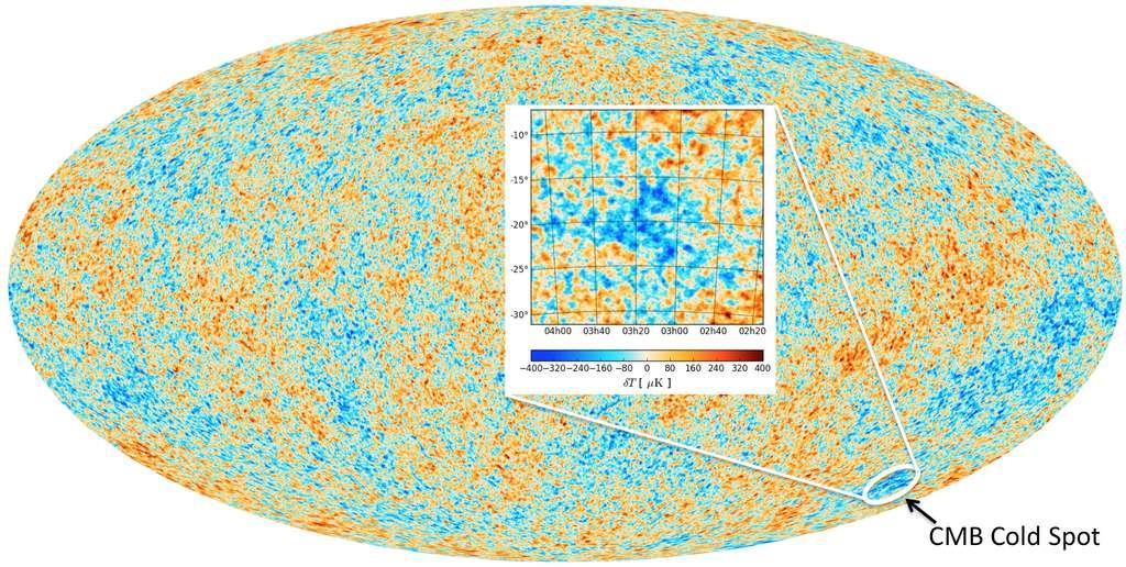 Le « Cold Spot » est une région de la voûte céleste où le rayonnement fossile est un peu plus froid. Ça n'a peut-ête l'air de rien mais cela pourrait conduire à une révolution en cosmologie. © ESA, Durham University