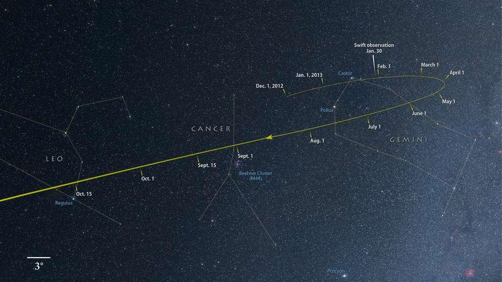 Cette carte permet d'apprécier le déplacement apparent de la comète Ison devant les étoiles de différentes constellations (Gémeaux, Cancer et Lion) d'ici la fin du mois d'octobre. C'est le 30 janvier 2013 que le satellite Swift a observé la comète. © Axel Mellinger, Nasa Goddard Space Flight Center