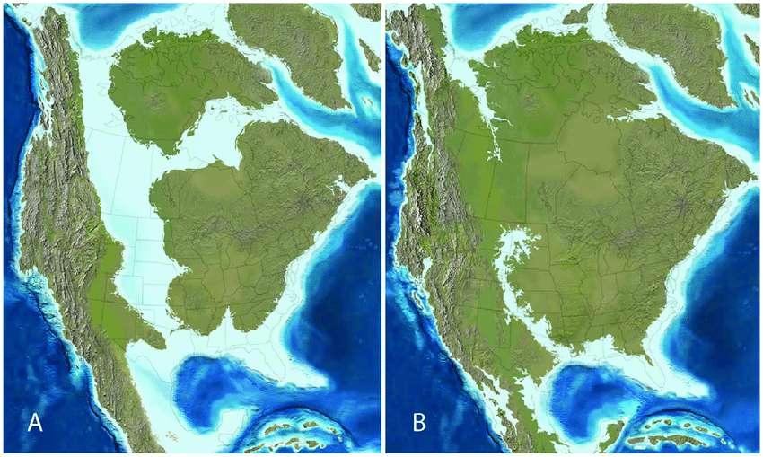 Deux cartes paléogéographiques de l'Amérique du Nord pendant le (A) Campanien tardif (75 millions d'années) et (B) le Maastrichtien tardif (65 millions d'années) montrant la présence de la fameuse mer de Niobraran et la région du Yucatán, alors une mer peu profonde, où est tombé le corps céleste à l'origine du cratère de Chicxulub. © Ron Blakey, Colorado Plateau Geosystems