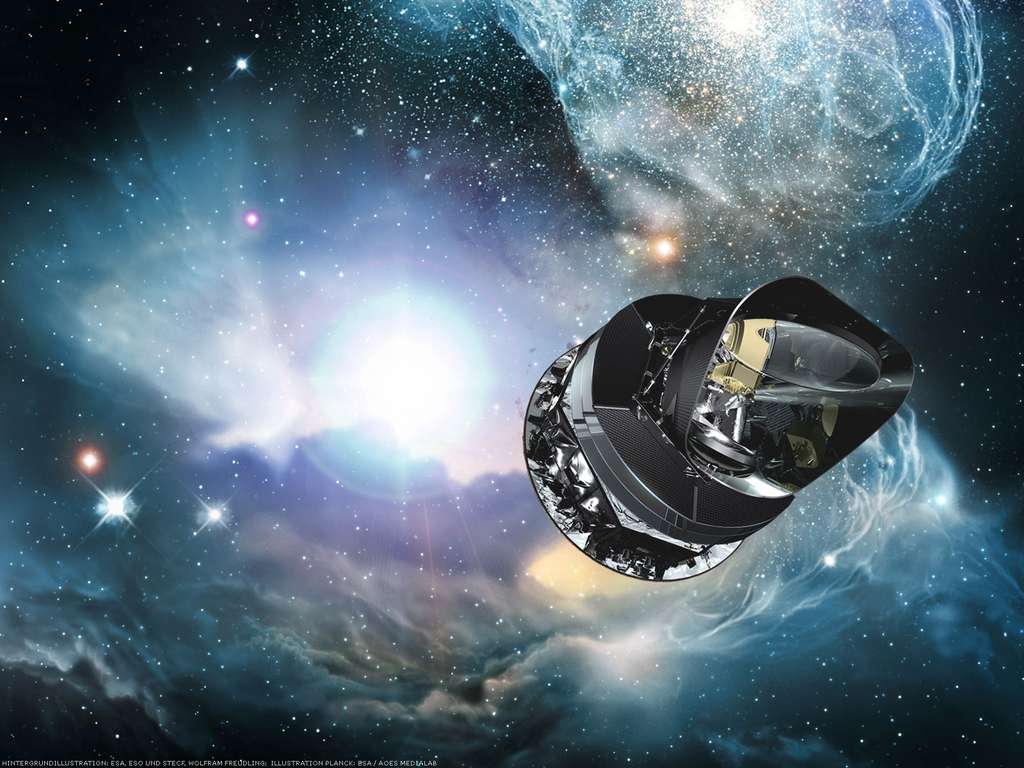 Une vue d'artiste du satellite Planck. © ESA, ESO, STECF, Wolfram Freudling-ESA / AOES Medialab