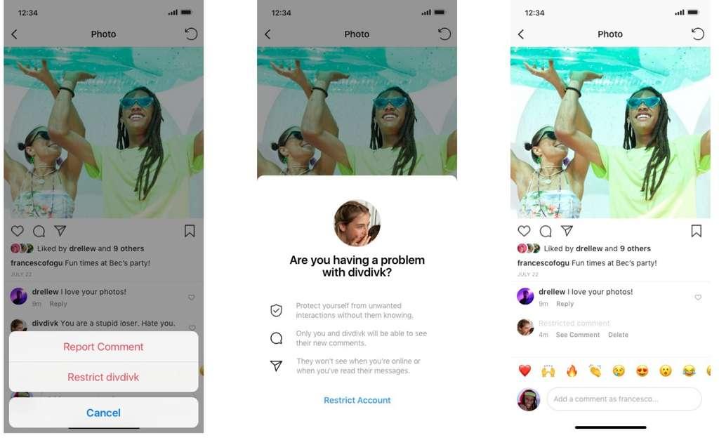 À l'instar de Twitter, Instagram propose désormais de masquer les commentaires d'une personne sans qu'elle ne le sache. © Instagram