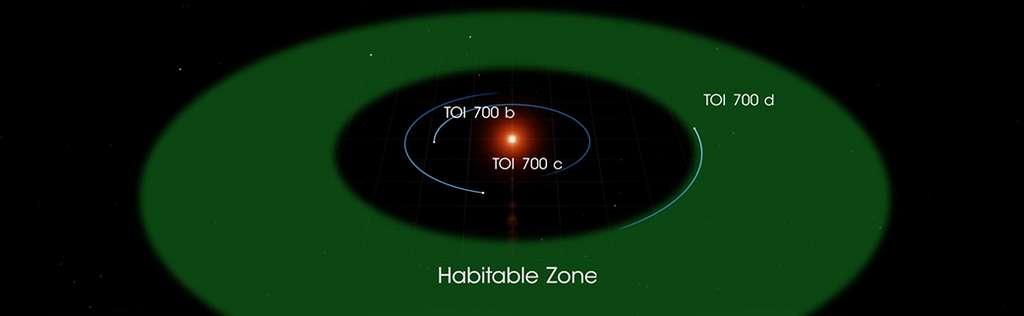 Une présentation du système planétaire de TOI 700. La planète la plus intérieure, appelée TOI 700 b, est presque exactement de la taille de la Terre. Elle est probablement rocheuse et complète une orbite tous les 10 jours. TOI 700 c est 2,6 fois plus grande que la Terre, boucle son orbite tous les 16 jours et est probablement un monde dominé par le gaz. TOI 700 d est la planète la plus externe connue du système et la seule dans la zone habitable. Son diamètre mesure 20 % de plus que la Terre et elle orbite tous les 37 jours autour de son étoile en recevant l'équivalent de 86 % de l'énergie que le Soleil fournit à la Terre. © Nasa