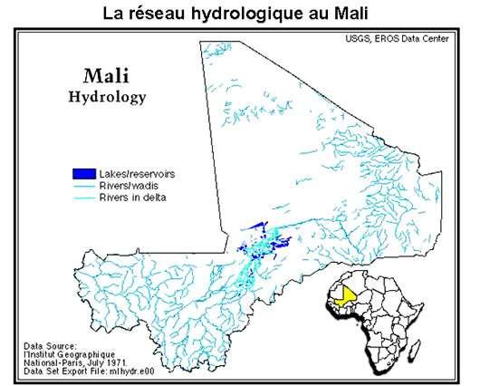 Carte réseau hydrique Mali © Tous droits de reproduction réservés