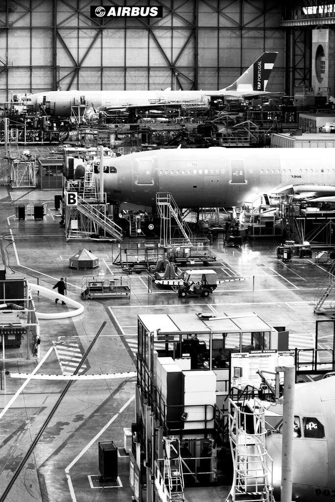 Les dernières opérations d'assemblage Airbus. © José Goulão, Wikimedia Commons, CC by-sa 2.0
