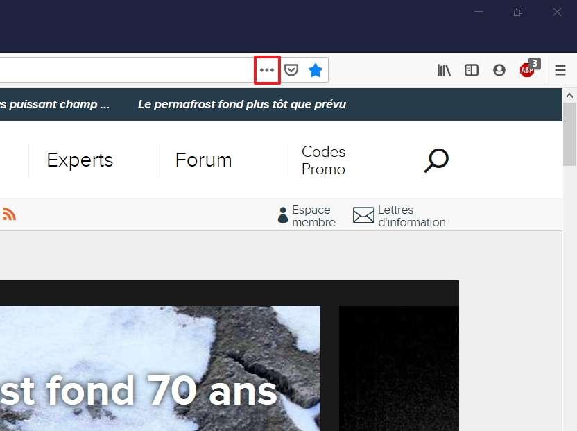 Cliquez sur l'icône « Actions pour la page » dans la barre d'adresse. © Mozilla Foundation