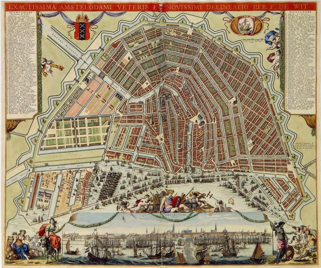Carte d'Amsterdam réalisée par Frederik de Wit en 1688. Collections de la bibliothèque royale, bibliothèque nationale des Pays-Bas. © Bibliothèque royale, La Haye