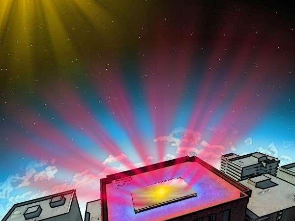Des ingénieurs de Standord ont mis au point un matériau qui permet de refroidir les bâtiments. Celui-ci agit d'abord comme un miroir pour réfléchir les rayons lumineux qui le frappent. Il évacue aussi la chaleur intérieure sous la forme d'une radiation infrarouge. © Fan Lab, Stanford Engineering