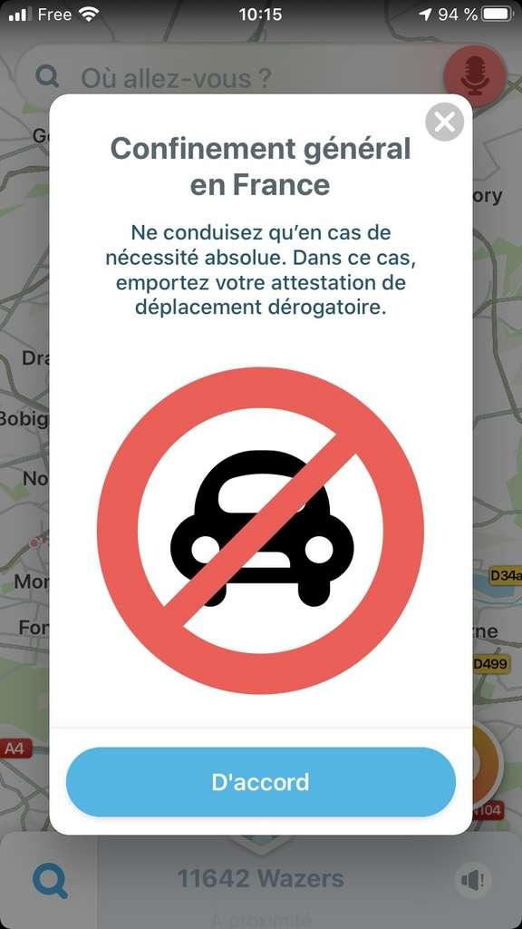 Voici le message qui s'affiche sur Waze. © Waze, Futura