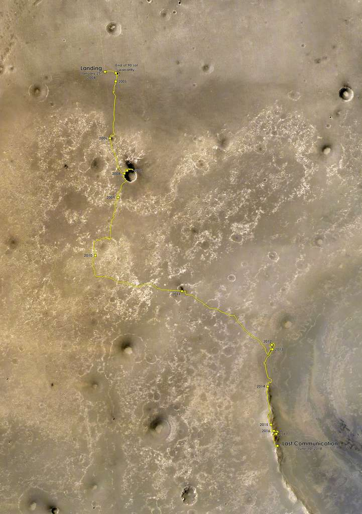 Le périple d'Opportunity sur Mars en presque 15 ans d'exploration. © Nasa, JPL-Caltech, MSSS, ESA, DLR, FU Berlin, CC by-sa 3.0 IGO, Justin Cowart