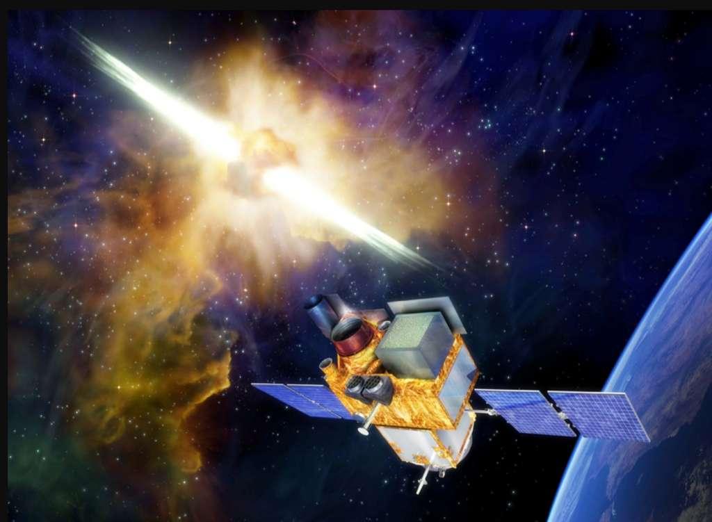Le satellite Space-based multi-band astronomical Variable Objects Monitor (SVOM) va étudier les sursauts gamma émis notamment lors des explosions d'étoiles massives. Il sera lancé fin 2021 ou début 2022. © Cnes, CNSA