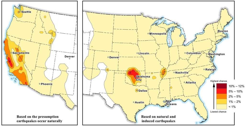 La carte des risques de dommages en 2016, avec des probabilités allant de 1 % à 12 % (le code couleur est à droite). Pour les États de l'ouest (carte de gauche), seuls sont pris en compte les séismes d'origine naturelle, tandis que les risques dus aux sites de fracturation hydraulique sont indiqués aussi pour les États du centre et de l'est (carte de droite). (Cliquez sur l'image pour l'agrandir.) © USGS