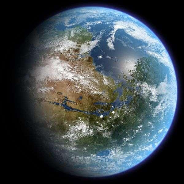 Une vue d'artiste de Mars rendue habitable par la terraformation. Elle possède à nouveau des océans et son atmosphère pourrait être remplie de CFC pour assurer un fort effet de serre. © Daein Ballard