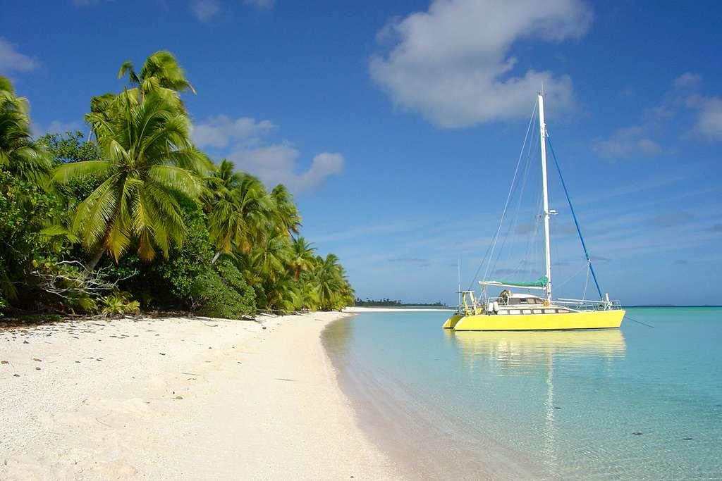 Le Banana Split, le catamaran d'Antoine, à l'ancre