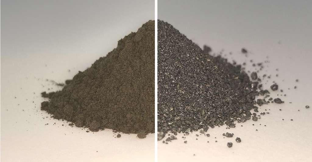 À gauche, un petit tas de régolithe lunaire. Ou du moins, de régolithe lunaire tel que reconstitué par les ingénieurs de l'ESA. À gauche, le même tas de régolithe après extraction de son oxygène. On y discerne les alliages métalliques produits dans l'opération. © Beth Lomax, Université de Glasgow