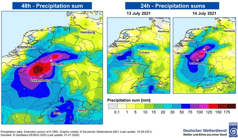 À gauche, les précipitations tombées sur la région Belgique-Allemagne, cumulées sur deux jours, les 13 et 14 juillet 2021. À droite, les précipitations pour chacun de ces deux jours. © Deutscher Wetterdienst, World Weather Attribution