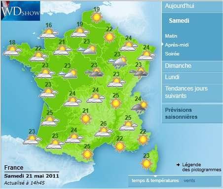 D'après Météo France, le temps sur la Métropole sera plutôt beau samedi et même presque beau dimanche après-midi, quand des averses bien venues, voire quelques orages, arroseront la végétation qui a soif depuis quelques semaines. © Météo France