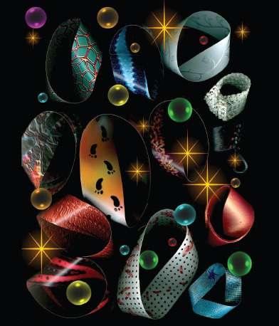 Plusieurs rubans de Möbius, créés par Teja Krasek et Cliff Pickover. Le ruban de Möbius est la première surface à un seul côté inventée et analysée par l'être humain. © Dunod, droits réservés