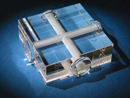 Les deux résonateurs optiques se coupant à 90°. Crédit : Institute for Experimental Physics-Heinrich-Heine-University Düsseldorf