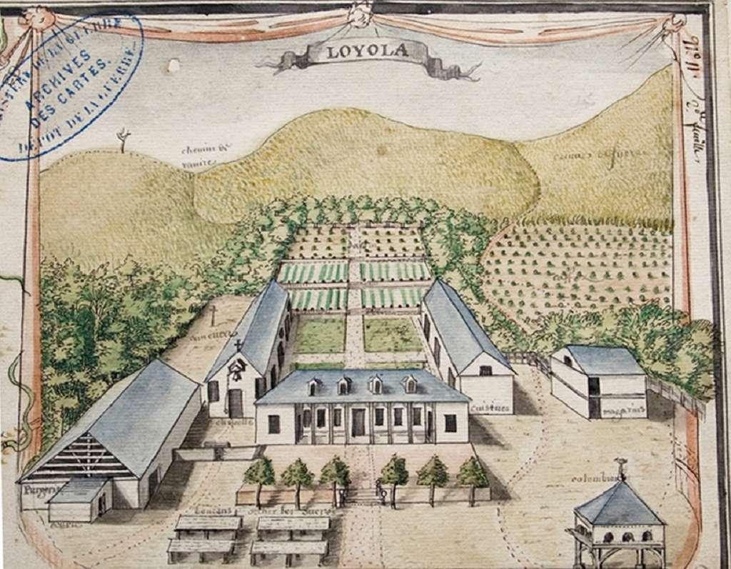 Vue de l'habitation jésuite « Loyola » à Rémire, près de Cayenne, par Hébert en 1730. Service Historique de l'Armée de Terre, Vincennes. © A. Le Roux