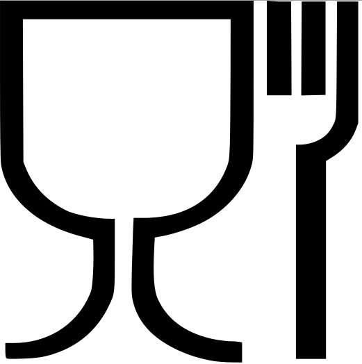 Le pictogramme européen concernant les matériaux destinés à entrer en contact avec les denrées alimentaires. © DR