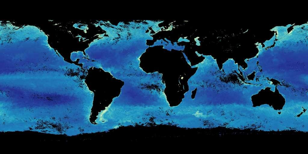 Cette carte montre la concentration en chlorophylle de l'eau, signalant la présence en phytoplancton. Cette répartition varie fortement en fonction des saisons (ici, en octobre 2019) © Nasa, Modis Aqua
