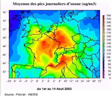 Du 1er au 14 Août 2003 (Copyright Ministère de l'Ecologie - Reproduction interdite)