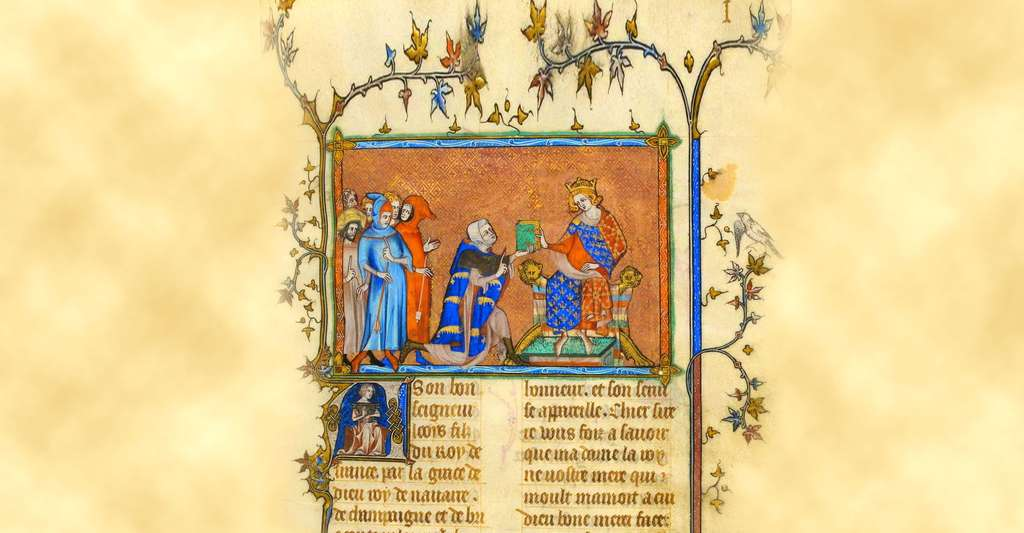 Présentation de l'ouvrage de Jean de Joinville au roi Louis le Hutin. © Jean de Joinville, Wikimedia commons, DP
