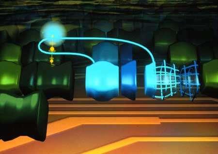 Le parasite de Tierra (deux segments bleus) utilise sa CPU (sphère bleue) pour exécuter le code de son voisin. © Anti-Gravity Workshop