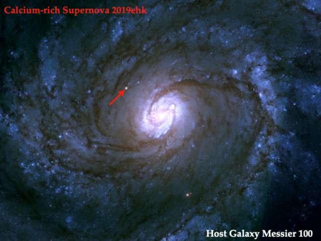Après l'explosion, la supernova SN 2019ehk apparaît distinctement sur les images du télescope spatial Hubble. © Charlis Kilpatrick, Université de Californie, à Santa Cruz