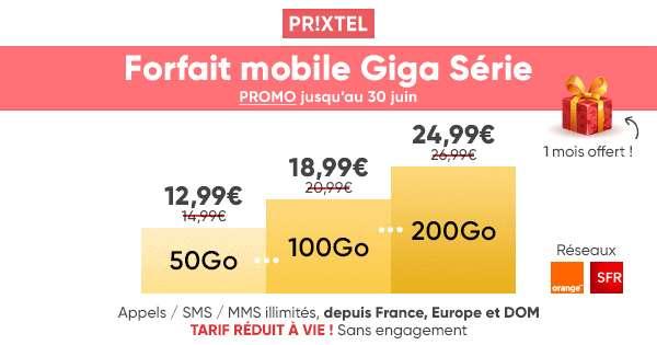 Le forfait Giga Série 50 Go offert à 12,99€/mois