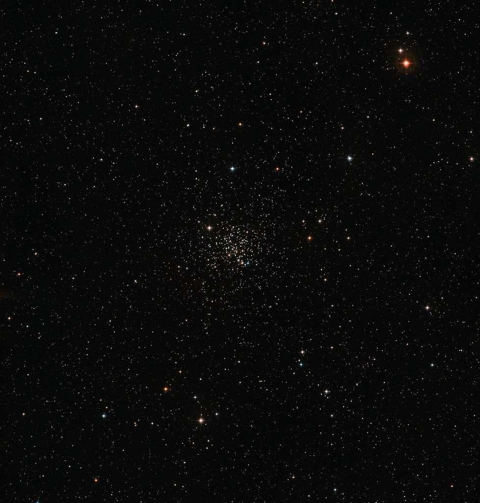 Cette vue étendue du ciel autour du vieil amas ouvert Messier 67 a été constituée à partir d'images issues du Digitized Sky Survey 2. L'amas apparaît riche de nombreuses étoiles au centre de l'image. Messier 67 est constitué d'étoiles d'âges et de compositions chimiques semblables à ceux du Soleil. © ESO, Digitized Sky Survey 2, Davide De Martin
