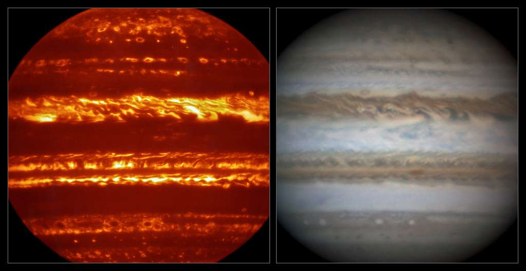 À gauche : Jupiter imagée dans l'infrarouge avec l'instrument Visir installé sur le VLT ; à droite : Jupiter photographié au même moment, mais dans le visible, par l'astronome amateur Damian Peach. © Eso, L. N. Fletcher, Damian Peach