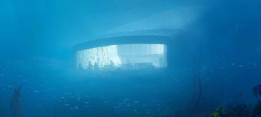Le restaurant sous-marin Under, situé à l'extrême sud de la Norvège, offrira aux convives une vue panoramique à 5 mètres de profondeur. © Snøhetta