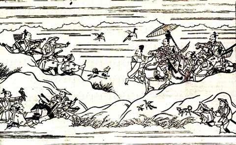 Chasse au faucon au Japon. Il s'agit de nobles, qui ne respectent d'ailleurs pas les interdits alimentaires traditionnels… © Reproduction et utilisation interdites