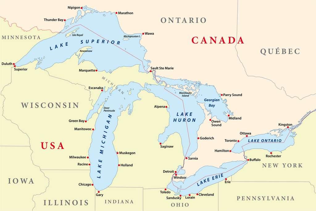 Le lac Huron est l'un des cinq Grands Lacs d'Amérique du Nord, il contient des bactéries comparables à celles qui se sont développées au début de l'Histoire de la Vie sur Terre. © lesniewski, Adobe Stock