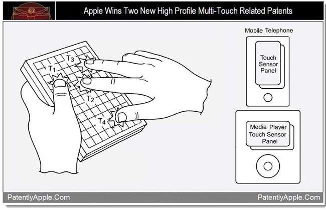 Le brevet déposé par Apple sur les écrans tactiles multipoints est à l'origine de nombreux démêlés judiciaires avec ses concurrents qui ont repris son mode de fonctionnement. © PatentlyApple.com