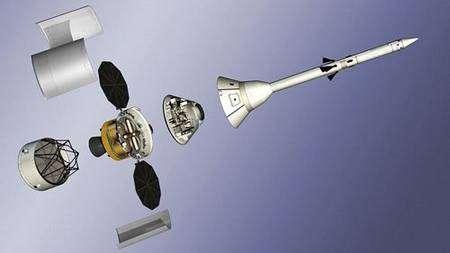 Le véhicule Orion, successeur des navettes, dont le lancement est prévu vers 2016 au plus tôt. Crédit Nasa