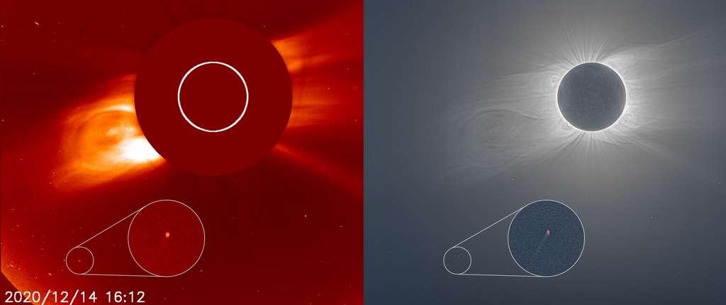 À gauche, la comète repérée dans le champ du coronographe Lasco C2 de Soho (l'instrument crée une éclipse totale artificielle en continu). À droite, au même moment sur Terre, la Lune recouvrait totalement le Soleil vu d'Amérique du Sud ; et non loin de la couronne solaire, parmi les étoiles devenues visibles en plein jour, la comète l'était aussi. © Nasa, ESA, Soho, Andreas Möller (Arbeitskreis Meteore e.V.), et Joy Ng. (photo de l'éclipse)