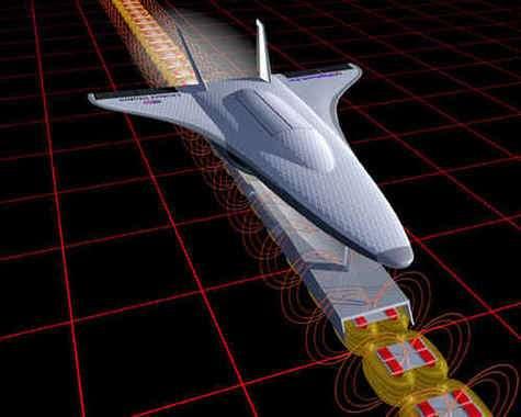 Simulation informatique d'un lanceur spatial par lévitation magnétique ( Crédit : NASA )