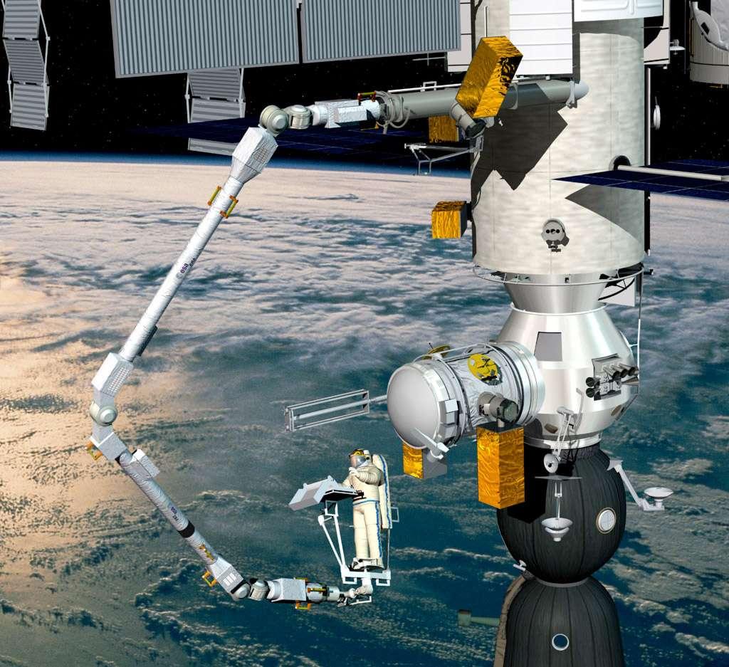 Vue artistique du bras européen ERA en activité dans le secteur russe de la Station spatiale internationale. © D. Ducros, Esa