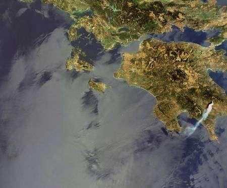 23 août 2007. Début des incendies. Crédit ESA, instrument MERIS.