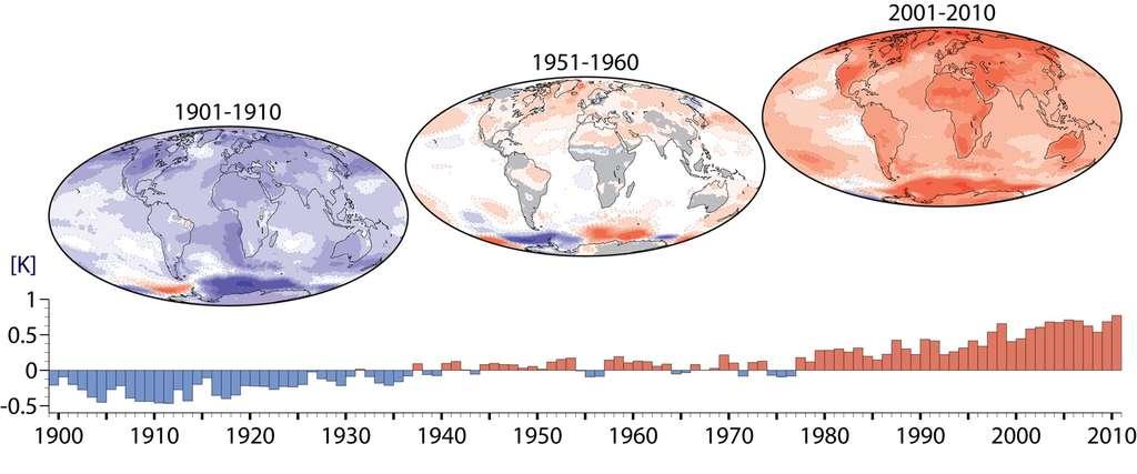 Ces trois cartes montrent l'évolution des anomalies de température observées tout au long du siècle dernier et jusqu'en 2010 en prenant pour référence la période 1951 à 1960. Elles montrent clairement une évolution à la hausse des températures moyennes et une accélération dès le début des années 60. © C3S/Copernicus data