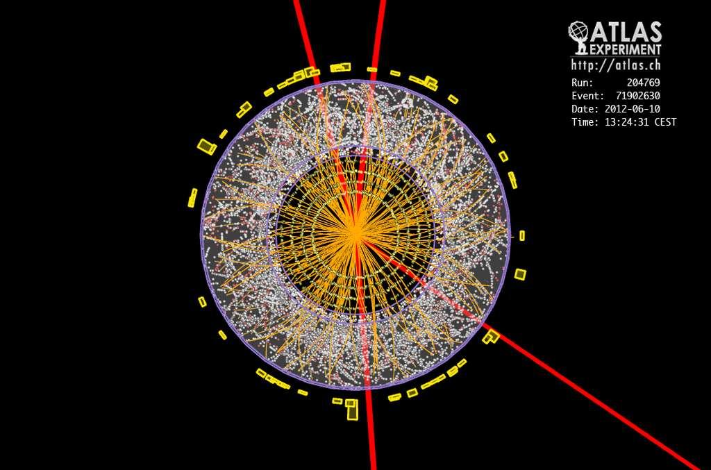 En rouge on voit la trajectoire de 4 muons dans le détecteur Atlas, résultant très probablement de la désintégration d'un boson de Higgs. © ATLAS, Collaboration-Cern