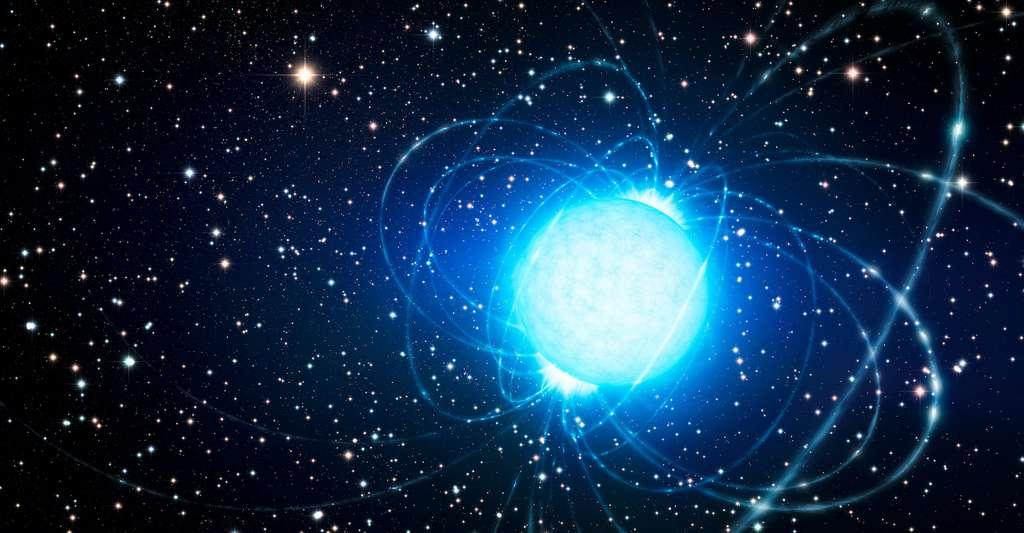 Vue d'artiste d'un magnétar tel que celui qui pourrait être à l'origine du tout premier sursaut radio rapide observé au cœur de notre Voie lactée. © L. Calçada, ESO, Wikipedia, CC by 4.0